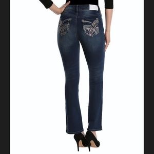 Hydraulic blue jeans embroider pocket straight 8P
